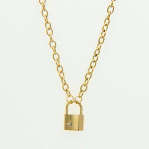 Padlock Star Pendant 18K Gold Plated Necklace